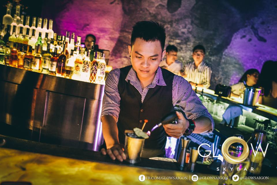 Bartender is on fire! Image: Glow Skybar Facebook.